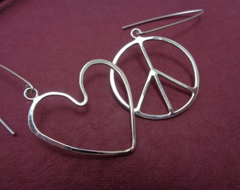 Peace and Love: Sterling Silver Handcrafted Charms Peace Sign and Heart Dangle Earrings