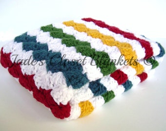 Crochet Baby Blanket, Baby Blanket, Crochet Rainbow Baby Blanket, multi color, primary colors, stroller travel size