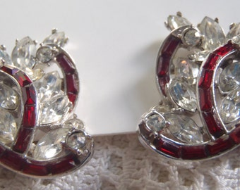 Vintage Earrings Red Clear Rhinestones Hollycraft Clip Ons Silver Tone