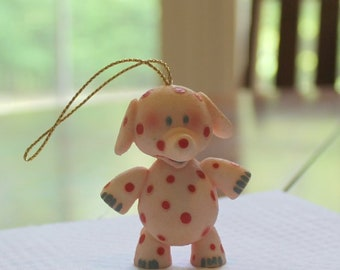 Vintage Pink Elephant with Dark Pink Dots Resin Hanging Ornament Marked 1999 FREE SHIPPING