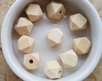 Set of 10 natural wood beads form geometric 12mm