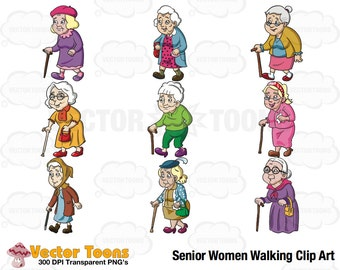 Senior Women Walking Clip Art, Digital Clipart, Digital Graphics