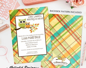 owl gender reveal invitation couples baby shower neutral twins boy birthday plaid coed sprinkle sip see diaper wipes | 1216 Katiedid Designs