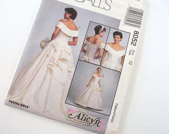 Vintage 1990's Wedding Dress Pattern McCall's 8052, Size 12, Bust 34 Inches