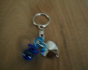 Keychain - heart + blue pacifier