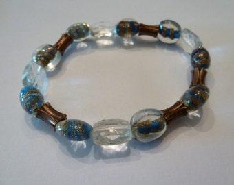 Vintage glass bead copper blue stretch bracelet costume jewelry