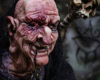 """OOAK Fantasy creature- HALLOWEEN special- Eursia """"Bone smasher"""" witch from the black swamp"""