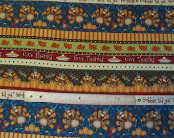 Thanksgiving/Harvest Vertical Henry Glass Cotton Fabric by the Half Yard