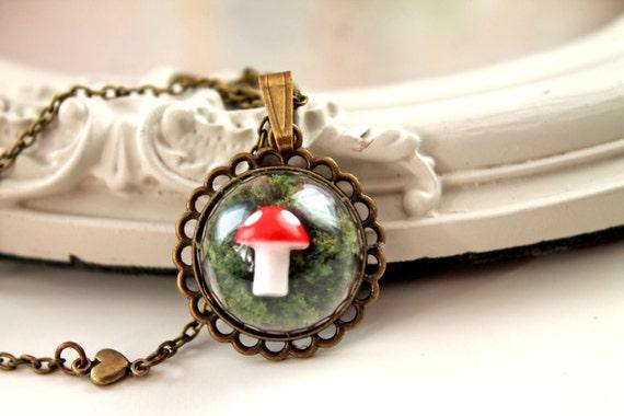 Dainty cute woodland mushroom in moss Necklace