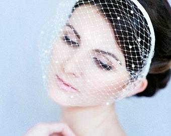 Birdcage veil headband white lace pearls Boudoir veil Bachelorette Morning style Dramatic  veil minimalist Bridal veil bridesmaid headband