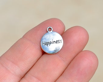 10 Silver Happiness Charms SC3456