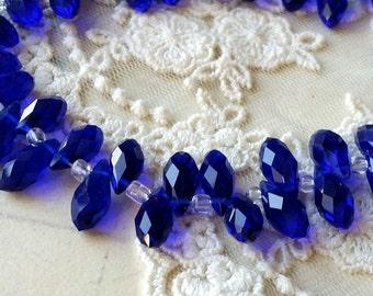 6 x 12 mm 48 Faceted Cut Tear Drop Shape Navy Blue Glass / Crystal / Lampwork Beads (.tau)