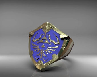 Brass Zelda Hylian shield ring