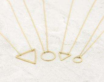 Gold Triangle Necklace, Floating Triangle Necklace, Minimal, Delicate Necklace / Gold Triangle 14k Gold Filled, Valentines Day