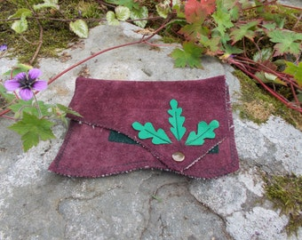 Purple Suede Wallet Decorated with Green Oak Leaves