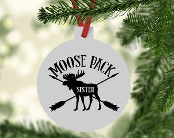 Sister Moose Ornament, Moose Ornament, Christmas Ornament, Sister Ornament, Christmas Gifts, First Christmas, Moose Pack Ornament