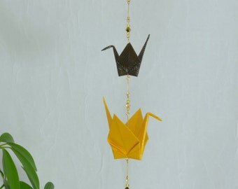 Origami Crane Suncatcher with Star Crystal - yellow and black metallic paper, hand varnished, with brilliant Swarovski crystals