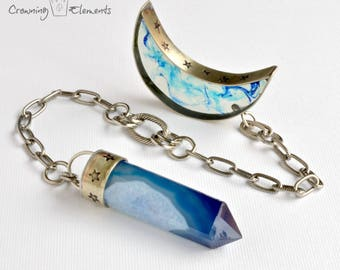 Dyed Blue Agate Pendulum ~ Lunation Series