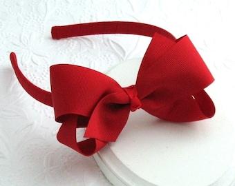 Red Hair Bow, Red Headband, Girls Christmas Headband, Toddler Headband, Red Bow Headband for Little Girls, Adults, Hard Plastic Headband