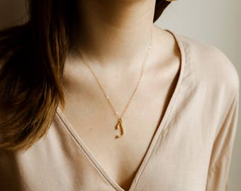 Gold Initial Necklace- Custom 14k gold filled necklace, gift necklace