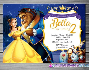 Beauty and The Beast Invitation, Belle Invitation, Beauty and The Beast Birthday Invitations, Princess Belle, Printables, Personalized