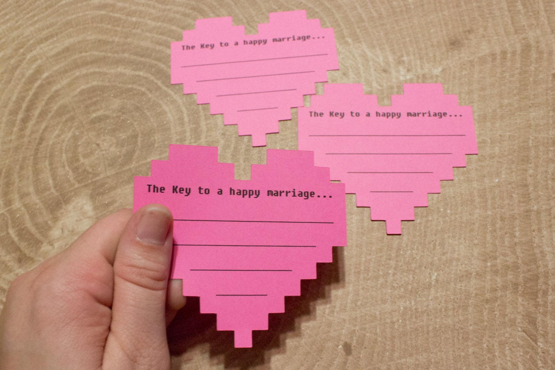 8 Bit Wedding Advice Cards Pink Nerdy Bridal Shower Game
