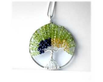 Peridot, Saphire and Citrine Tree Of Life Necklace, August Birthstone, September Birthstone, November Birthstone,Family Tree,