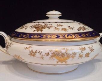 Minton Dynasty Cobalt Blue Covered Vegetable Bowl Tureen English Bone China