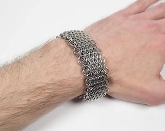 Dragonscale Bracelet, Chainmaille Bracelet, Stainless Steel, Chainmail Bracelet, Chain Maille, Chain Mail, Mens Bracelet, Mens Jewelry
