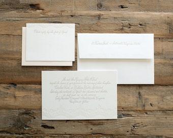 wedding letterpress invitation rustic lace
