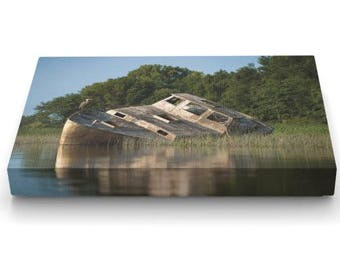 Photograph of a shipwreck on canvas, foam