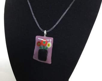 Fused glass pendant, unique glass necklace, jewelry gift.