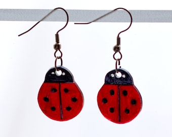 Ladybug Earrings or Necklace or Key Chain