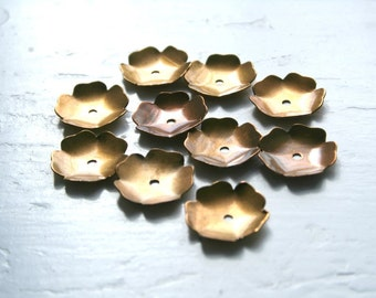 Brass Dished Flower Petal Jewelry Findings, Package of 10