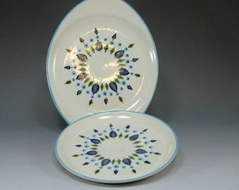 2, Plates, Stetson, Marcrest, Salad Plate, Oval Plate, Vintage Swiss Alpine Chalet, Hand Painted, RARE Mid Century, Shabby and Cottage Chic