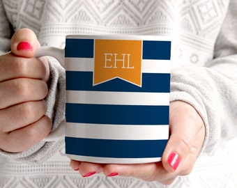 Personalized Coffee Mug -Stripes with monogram banner