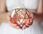 Geometric Candle Holder, Wedding Table Decor, Wedding Lights, Copper Home Decor, Ring Bearer Box, Candle Lover Gift, Glass Wedding Favor