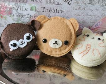 Kawaii Bunny Alpaca, Pancake Bear, Kitty Macaron Macaroon Cake Coin Purse, Wallet, Ring Box, Keychain, Sewing Kit