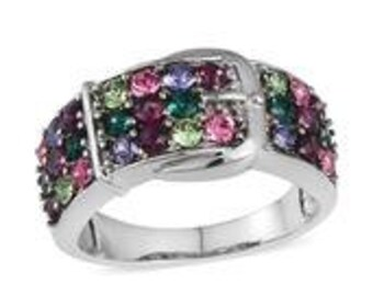 Multi Gemstone Buckle Ring in Stainless Steel (Size 6.0) TGW 1.570 cts.