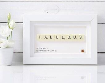 Handmade Fabulous Scrabble Art.  Gifts for Her. Birthday gifts. Fabulous at fifty. 50 gifts.  30 gifts. 40 gifts
