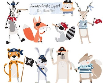 Animals Pirate Clipart ,cute animals clipart, pirate clip art Instant Download PNG file - 300 dpi