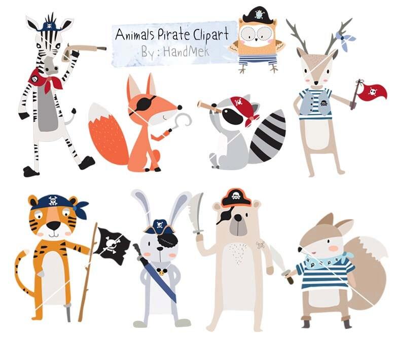 animals pirate clipart cute animals clipart pirate clip art rh etsy com cute pirate clipart Pirate Clip Art