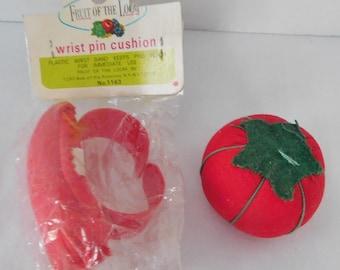large vintage Pin Cushion tomato and wrist pin cushion
