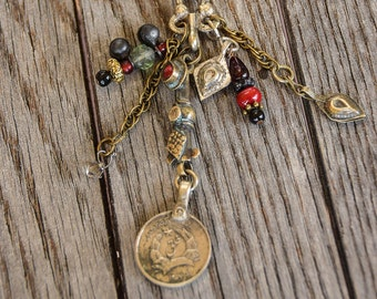 Kuchi Necklace/Boho Style/ Bohemian Necklace/Beads and Bells / Long Necklace/ Gypsy Necklace /Festival Jewelry / Coin Necklace / Coin Charm