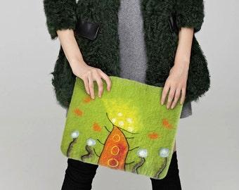 Laine feutrée 13 dans housse de portable MacBookAir avec la conception abstraite, jaune orange vert rouge, Voyage Sac feutré de laine, manchon de feutre de laine