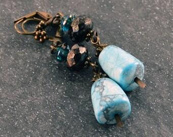 Rustic Gypsy Earrings Light Blue Jet Black Glass Beads  Antique Brass Earrings