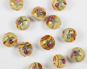 Set of 6 Pink Rose Earthtone Taupe Brown Swirls Lampwork Glass Beads