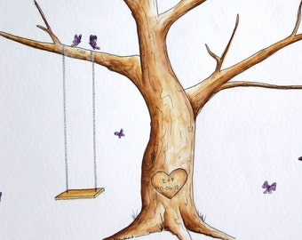 Original Wedding Thumb Print Guest Book Tree ADD-ON butterflies- Custumize