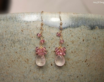 Rose Quartz and Pink Topaz Earrings, Rose Quartz Jewelry, Gold Filled, Cluster Dangle Gemstone Earrings