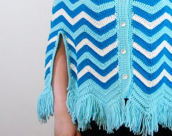Blue Chevron Poncho // 1960s Crochet Fringe Cape // Turquoise Sweater Poncho // Handmade Winter Fashion Vintage Outerwear